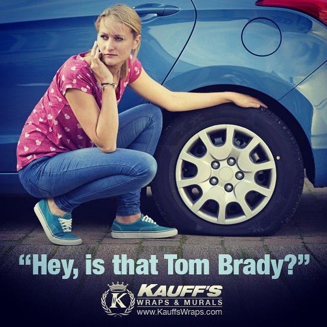 """Hey, is that Tom Brady?"" #deflategate #SuperBowl #tombrady #patriots #nfl #tgif #funny #seahawks #russell #pats #espn #gronk #play #ball #football #score #vinyl #vehiclewrap #carwrap #windowtinting #signage #graphics"