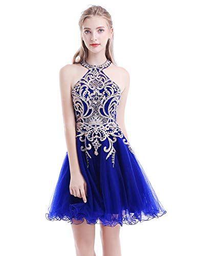 0be212caa022 Beautiful Aurora Bridal Women's Halter Beaded Homecoming Dresses 2018 Short  Tulle Prom Gown AH112 womens fashion clothing. [$42.99 - 74.99]  nanaclothing ...