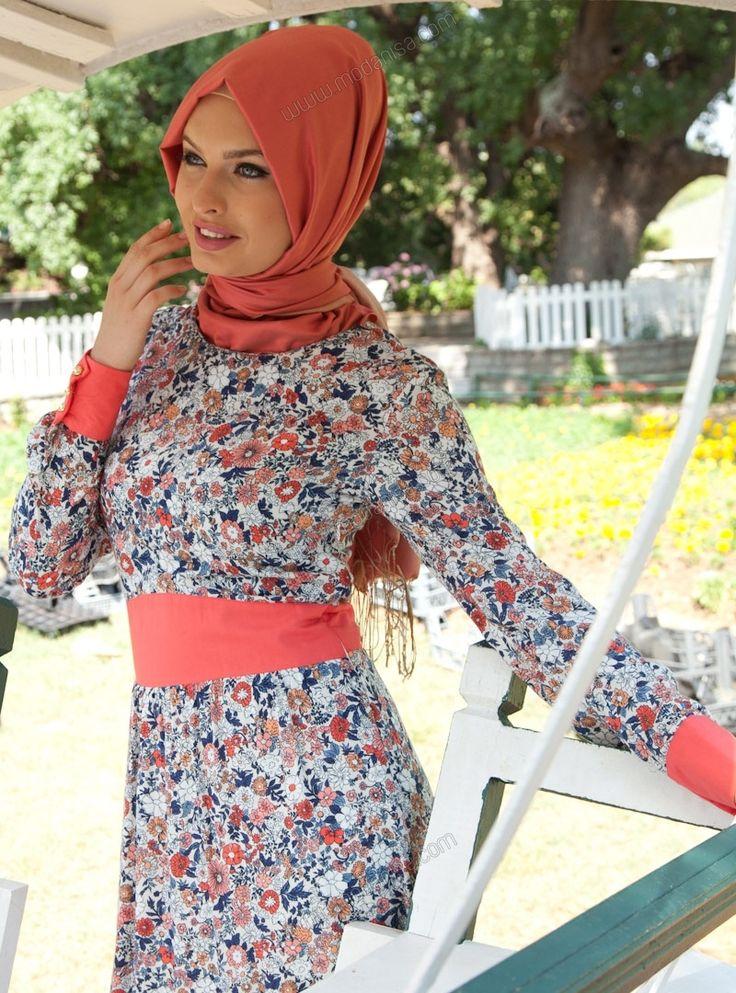 Çiçek Desenli Elbise - 5147 - Nar Çiçeği - Tavin