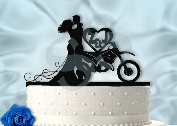 Dirt bike Couple personalized with Initials Wedding Cake Topper