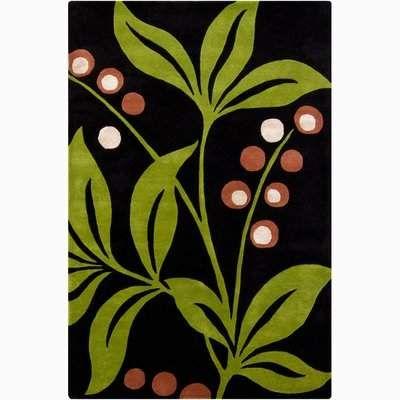 Red Barrel Studio Medford Dark Green Lime Floral Area Rug