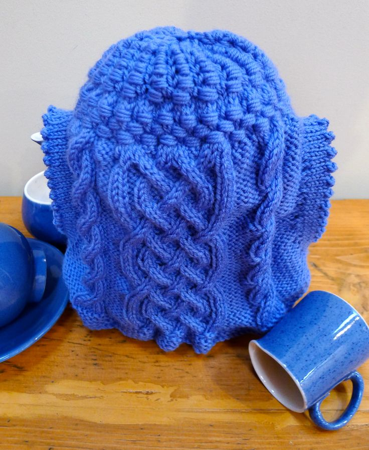 Tall Cables and Wraps tea cosy