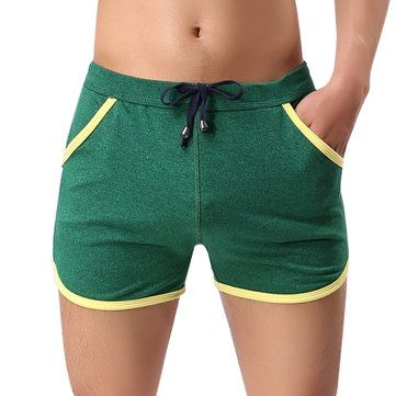 Sexy Patchwork Drawstring Cotton Casual Boxers Underwear for Men