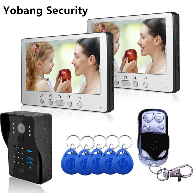 ==> [Free Shipping] Buy Best Yobang Security Freeship DHL Home Wired 7 inch TFT Video Door Phone Intercom Kit  2 White Monitors  black Door bell Camera Online with LOWEST Price | 32803393142