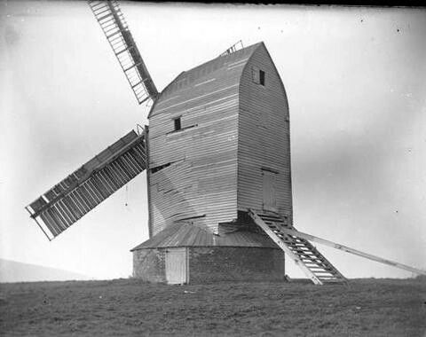 Ringmer post mill, near Lewes, East Sussex. This mil collapsed in 1926 but the main post and trestle survive, re erected on a slightly different site.