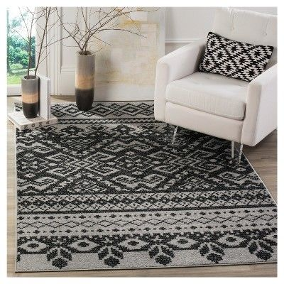 Adron Area Rug - Silver/Black (4'x6') - Safavieh, Durable