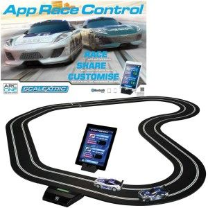 Scalextric ARC One App Race Control Set The ARC One is an analog set with Blue Tooth capabilities. All of scalextric track sets are upgrade-able to digital.  The iPad app integration gives a purpose to racing and adds a really interesting twist with timing pit-stops