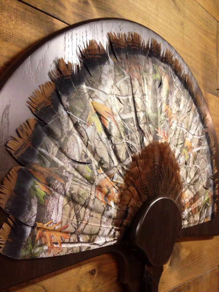 Hydro dipped turkey tail fan in camo exclusively at TTS Hydrographix