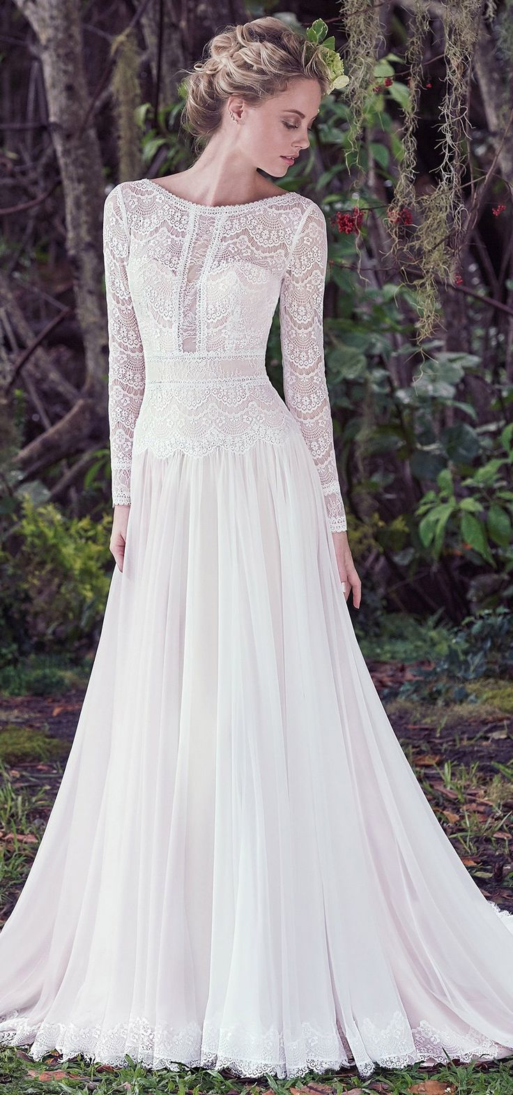 "Bohemian beauty! ""DEIRDRE"" by #maggiesottero. Understated elegance is found in this subtle lace and Santorini chiffon A-line wedding dress, complete with bateau neckline and long sleeves."