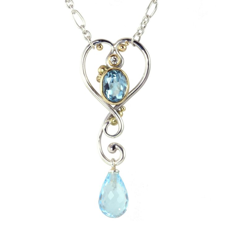 Romantic necklace with blue topazes and diamond. Elegant silver necklace with 18k gold accents and a 0.04 ct TW / VVS diamond. The necklace clou is its lock - made R03;R03;up of the art nouveau inspired pendant itself. Slip the eyelet of the chain over the topmost curl, and the necklace stays securely in place without the annoying clasp in the back.