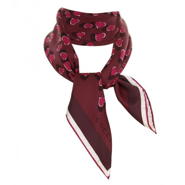 Gucci Burgundy, Purple & Red Silk Heartbeat Print Scarf (1,205 SAR) ❤ liked on Polyvore featuring accessories, scarves, red shawl, purple scarves, tie scarves, pure silk scarves and red scarves