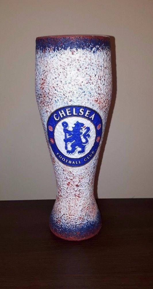 #decoupage #football #bier #glass #footballgift #footballdesign #handmade #footballsouvenir #chelsea