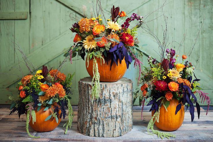 Utah wedding florist calie rose pumpkin centerpiece