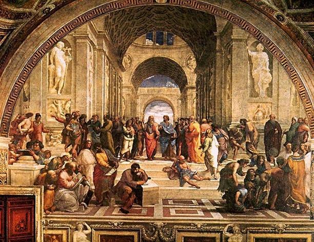<아테네 학당, 라파엘로>  -당대 최고의 철학자들을 그려놓은 이 그림의 모델들은 당대 최고의 화가들이었다.  플라톤=레오나르도  헤라클레이토스=미켈란젤로  였으며, 라파엘로는 자신의 모습또한 그려넣었다.