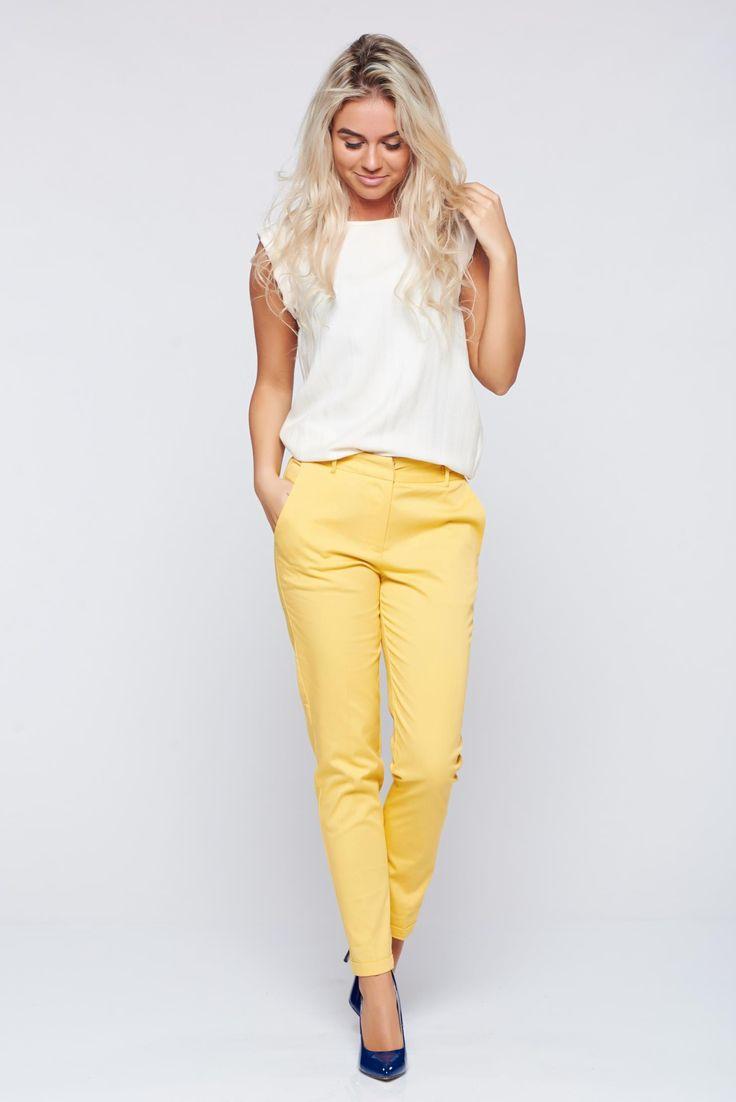 Comanda online, Pantaloni Top Secret galbeni conici cu talie medie. Articole masurate, calitate garantata!
