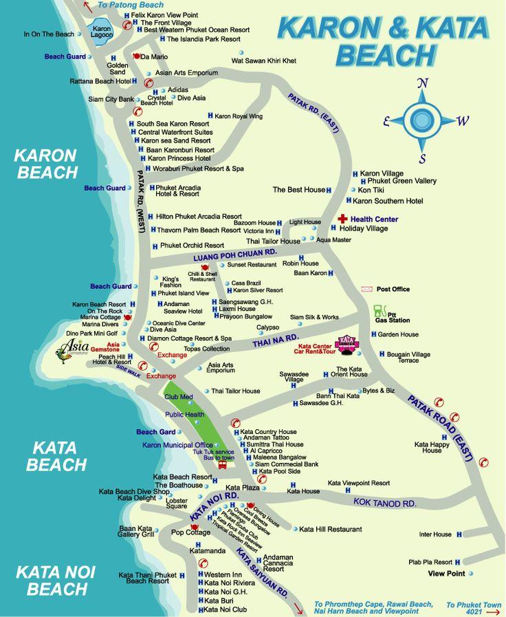 ... beach Phuket Thailand Attractions map - Karon Beach And Kata Beach Map