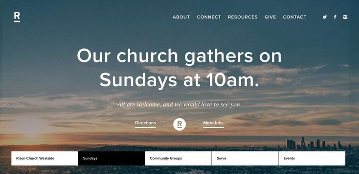 What I like about this #church site is the unique navigation bar which is persistent below, as well as the persistent menu at top. The site is built on top of video images. Great. #photography #white #black #nav