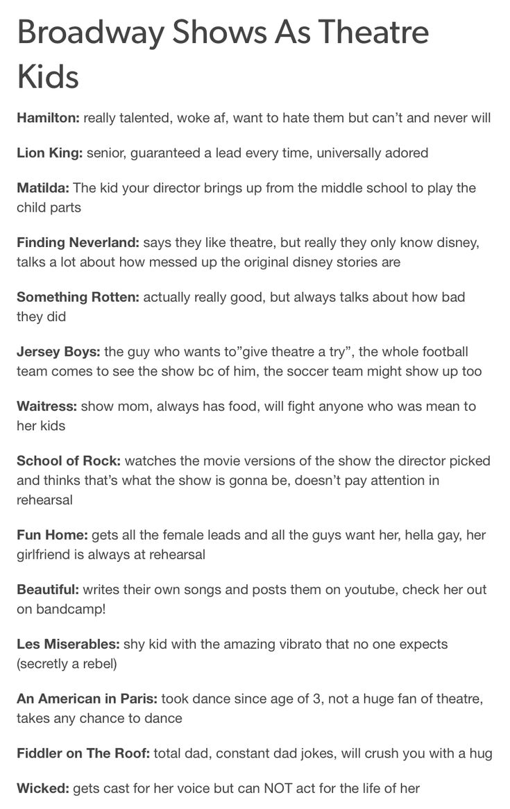 Broadway Shows as Theatre Kids