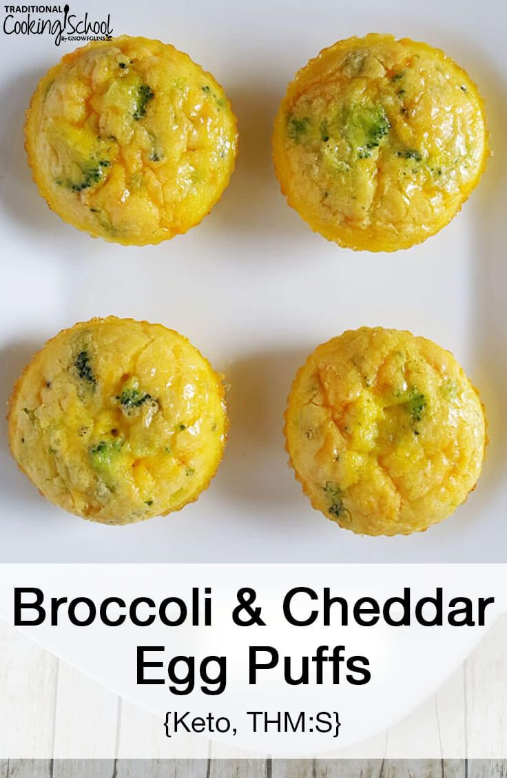 Broccoli & Cheddar Egg Puffs (Keto, THM:S)