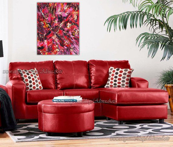 Ruby Prints Of My Abstract Red Modern Painting Printed On High Quality Fujicolor Crystal Archive Pape Leather Sofa Living Red Leather Sofa Red Sofa Living