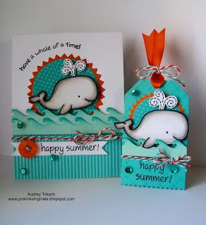 Fantastic card and tag by Audrey! Lawn Fawn - Critters in the Sea, Happy Summer _ Pink Ink Originals: A Whale of a Time! {Lawn Fawn Stamps}