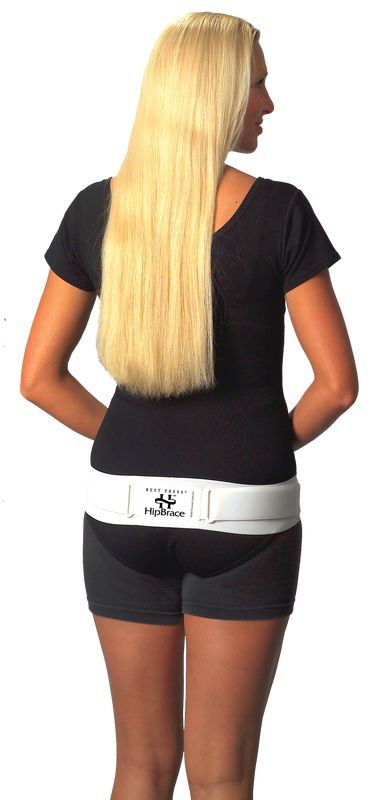 Hip Brace by Perinatal Cares is an adjustable compression support for the greater trochanter, holds relaxed hip joints in socket, stabilizes lower back and pelvis and a great compression support for hernias.