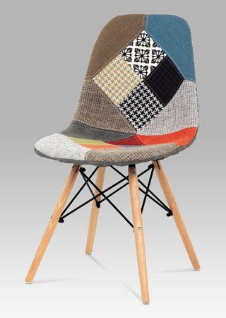 CT-724 PW2 Moderní designová židle v oblíbeném provedení patchwork, nohy jsou z masivního dřeva v přírodním odstínu s černým kovovým výpletem. Tyto židle budou perfektním designovým doplňkem jídelen, kuchyní, kanceláří, apod. Nosnost této židle je do 100 kg.