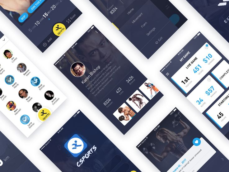 sports app UI - all