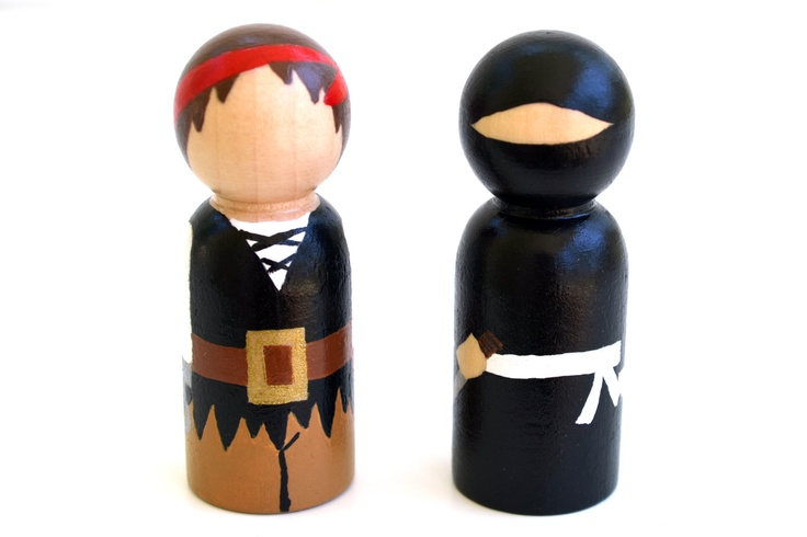 Pirates vs. Ninjas - Wooden Peg Dolls. $30.00, via Etsy. These are awesome!