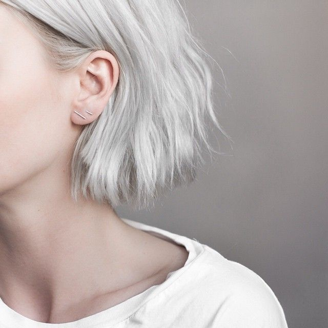 Gray bob. Natural wave and texture. Hair tucked behind ears. | Source: birdasaurus - Still With You | Pinned via Death By Elocution