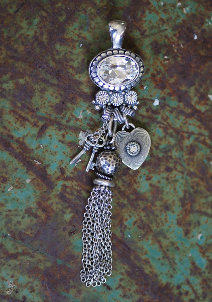 EN928  Dazzling Swarovski crystal and burnished silver enhancer with tassels and charms MADE WITH SWAROVSKI CRYSTAL ELEMENTS