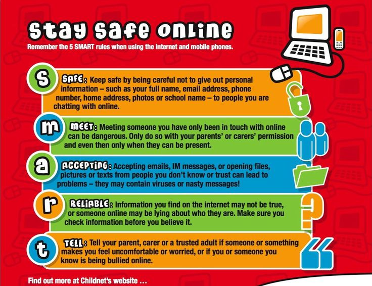 """Argueta-Stay Safe Online:  This poster uses the word Smart to remind students of the rules that will help them safe on the internet. The letters in the word smart stand for safe, meet, accepting, reliable, and tell.  It informs students not to give out personal information, to avoid meeting someone on line without a parent, not to accept emails or messages from unknown sources, to check if information is true, and to tell an adult if something """"feels uncomfortable."""""""