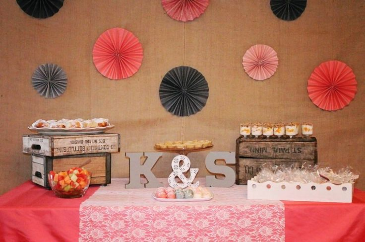 Rustic + Elegant Bridal Shower Ideas - used colors from the invitation as inspiration for this bridal shower theme! #bridalshowerideas http://www.peartreegreetings.com/blog/2013/05/rustic-elegant-bridal-shower-ideas/