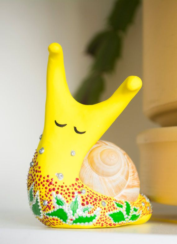"""Sculpture miniature fantasy """"Funny Snail"""" by WingedHedgehogDream"""