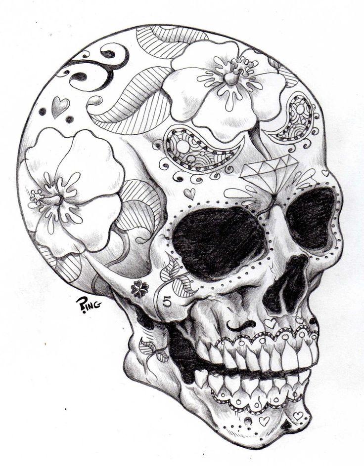 Skull Drawings   sugar skull ping by pingriff traditional art drawings macabre horror ...