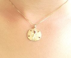 sand dollar necklace, beach necklace, hawaiian jewelry, gold sand dollar, sterling sand dollar, beach wedding, nautical, ocean on Etsy, $43.00