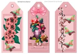 Three Pretty floral peach bookmarks toppers on Craftsuprint - View Now!