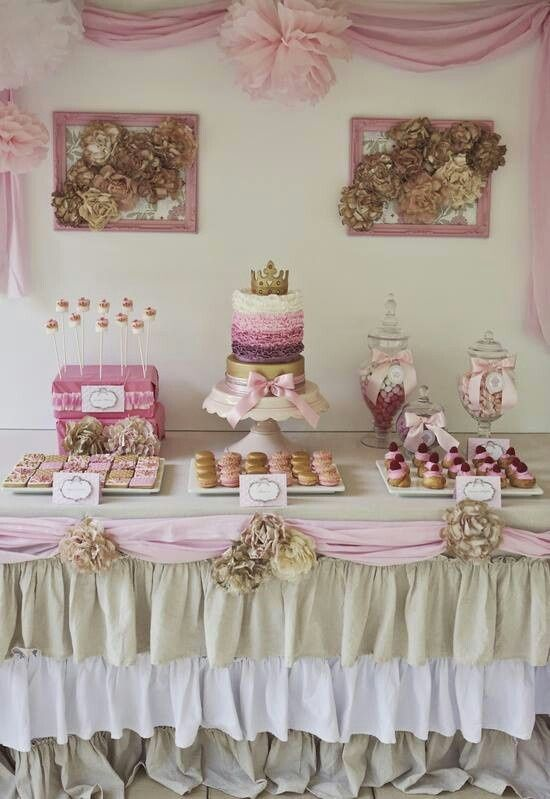Princess party - the gold and pink are great! And the ruffle layering on the cake is