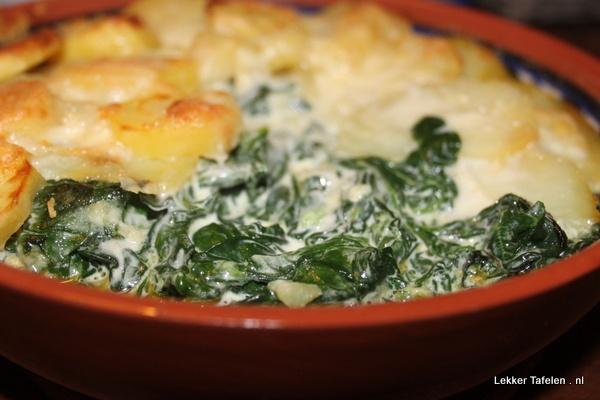 Aardappelgratin met spinazie en romige mascarpone