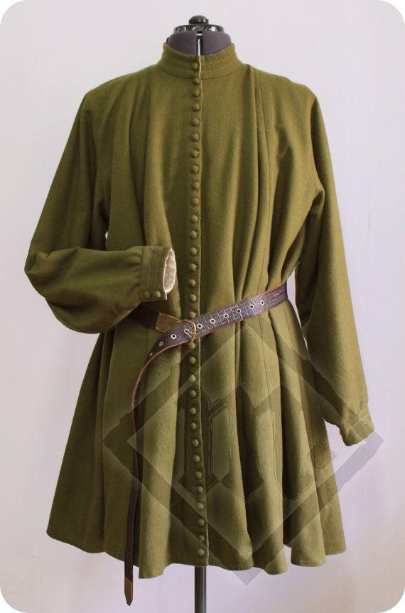 Medieval Woolen Khaki Men's Robe by LadyMalinaCom on Etsy