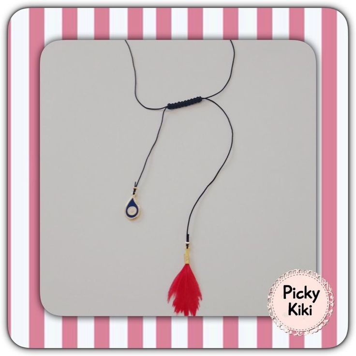 The must have of this summer! Pendant with a black cord, a gold dark blue eye and a red feather | Picky Kiki Accessories