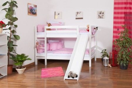 Bunk bed / Children's bed Moritz with slide, convertible, with slide, white finish, incl. slatted frame - 90 x 200 cm