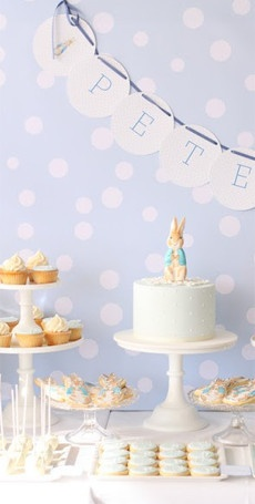 A Baby Shower Table. This adorable Peter Rabbit themed table from Hello Naomi is one of our faves.