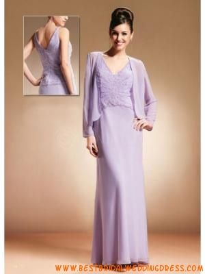 V Neck Beaded Satin Chiffon Mother Of Bride And Groom Dress