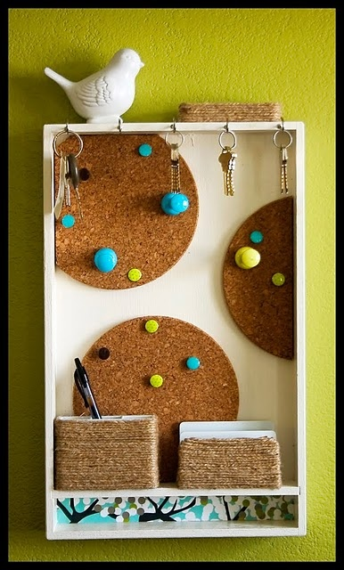 Kitchen Message Centre Coasters Hooks Tins Tacks And An Old Drawer