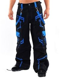 Black and Blue Amok Rave Pants on Model
