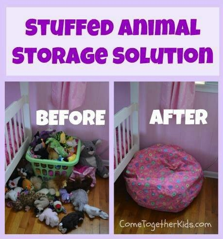 """Bean bag cover for stuffed animal storage. This has saved my sanity from the girls room looking so cluttered! They can access that long lost """"buddy"""" they have to have too! Easy clean up!"""