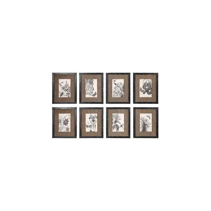 Wood and MDF Botanical with Burlap Picture Frame Set