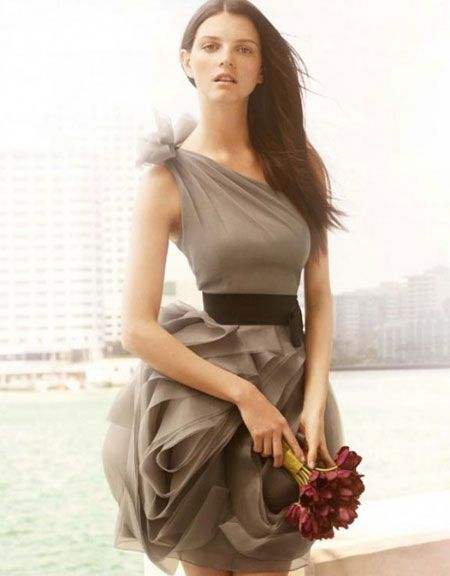 The fig colored flowers with mocha dress are a pretty for Vera wang gray wedding dress