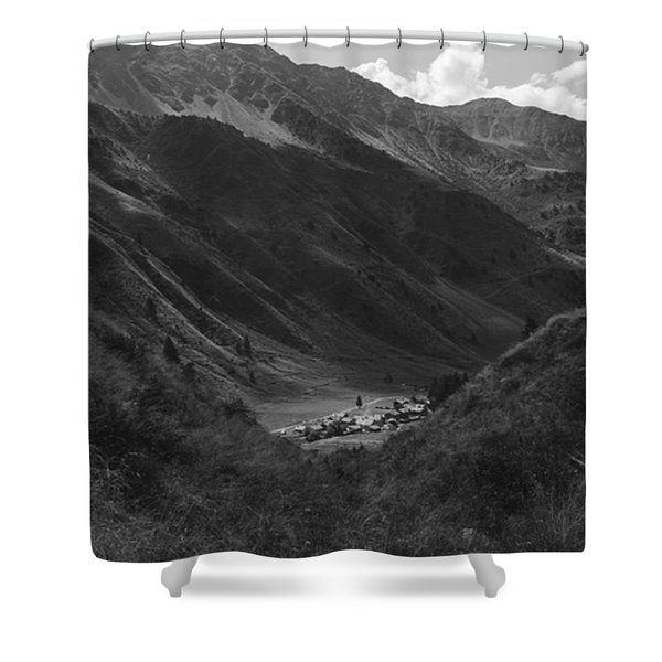 Hugged By The Mountains Shower Curtain by Cesare Bargiggia